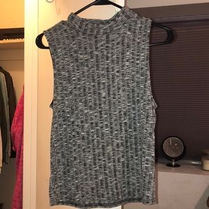 High Neck Racerback Grey Womens Crop Tank Top